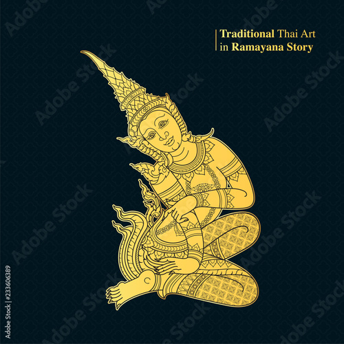 Traditional Thai Art in Ramayana Story, style vector Fototapeta