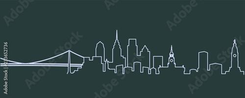 Obraz na plátně Philadelphia Single Line Skyline