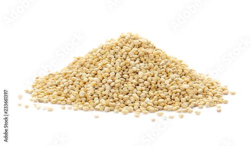 Pile of raw quinoa on white background