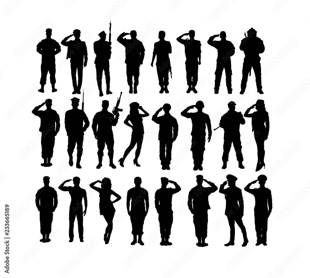 Saluting Soldier and Army Force Silhouettes, art vector design <span>plik: #233665189 | autor: martinussumbaji</span>
