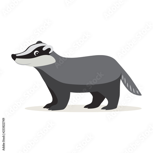 Canvastavla Icon of funny cute gray badger isolated, forest, woodland animal, vector illustr