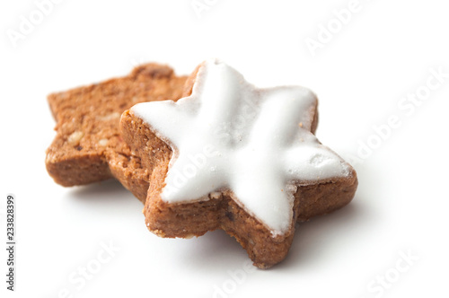 Leinwand Poster closeup of christmas biscuit in shaped star on white background