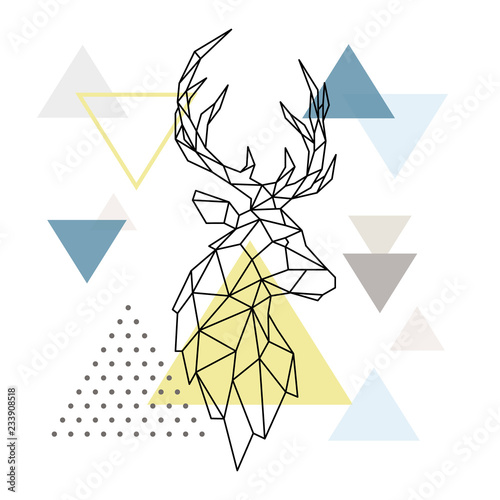 Fototapeta Geometric Deer silhouette on triangle background