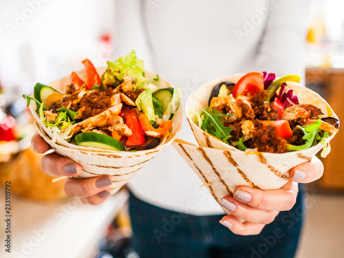 Woman with kebabs