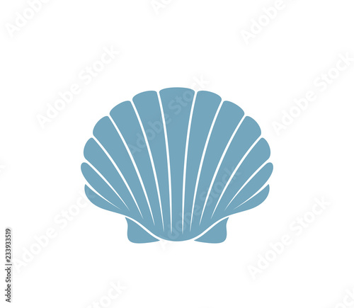 Billede på lærred Scallop logo.  Isolated scallop on white background