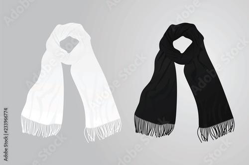 Fotomural White and black scarf. vector illustration