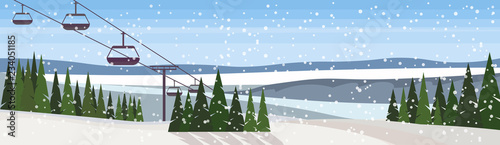 Canvas Print cable car in winter snowy mountain fir tree forest landscape background ski reso
