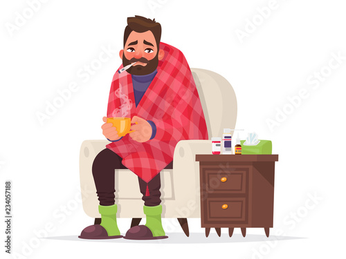 Photo Sick man. Flu, viral disease. Vector illustration