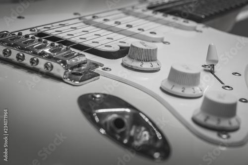 Canvas Print Black white solo electric lead guitar, rock music