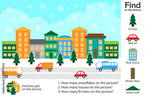 Activity page, christmas picture in cartoon style, find images and answer the questions, visual education game for the development of children, kids preschool activity, worksheet, vector illustration