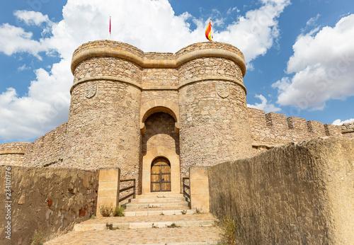 Doorway of the Ancient Castle in Chinchilla de Monte Aragon, Albacete, Spain