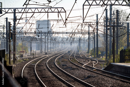 The East Coast Mainline just outside London. One of two mainline railways in the UK linking London to Scotland. Maximum line speed is 125 mph.