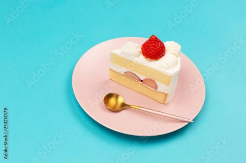 Vászonkép Strawberry shortcake on the pink plate