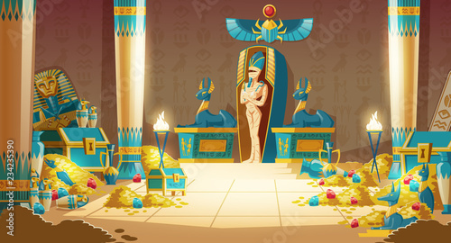 Fotografia Vector Egyptian tomb - pharaoh sarcophagus with mummy, treasure and other symbols of culture