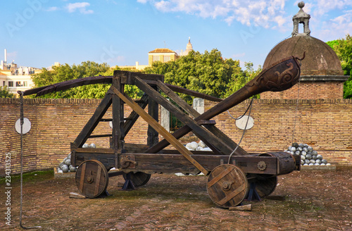 Canvas medieval catapult in Rome