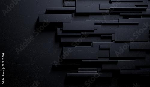 Vászonkép Fondo negro y oscuro abstracto de la pared o de los ladrillos de mármol