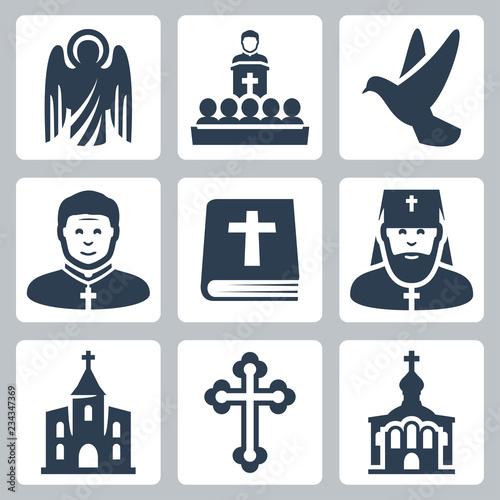 Vector Christian religion icons set Fototapete