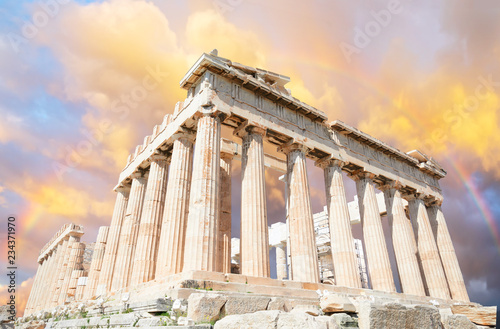 Parthenon temple over sunset sky background, Acropolis hill, Athens Greece