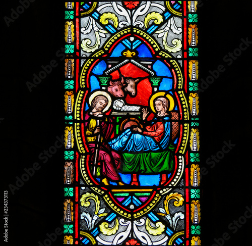 Fototapeta Nativity Scene - Stained Glass in Monaco Cathedral