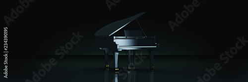 Canvas Print Grand piano in dark background. 3d rendering