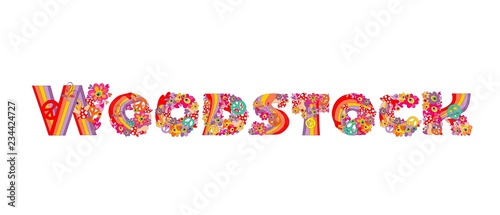 Fotografie, Obraz Fashion design isolated on white background with Woodstock hand drawing letterin