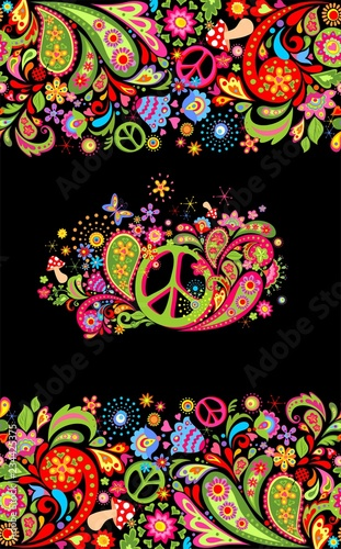 Fashionable print with colorful floral seamless border and hippie peace flowers фототапет