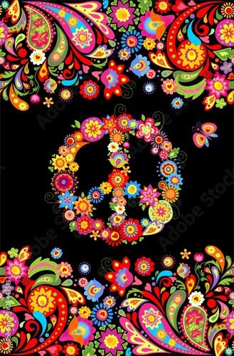 фотография T shirt print on black background with vivid floral decorative seamless border a