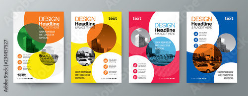 collection of modern design poster flyer brochure cover layout template with circle graphic elements and space for photo background