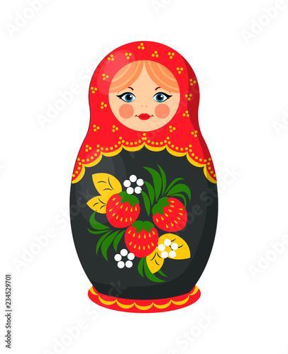 Canvas Print Russian Nesting Doll Closeup Vector Illustration
