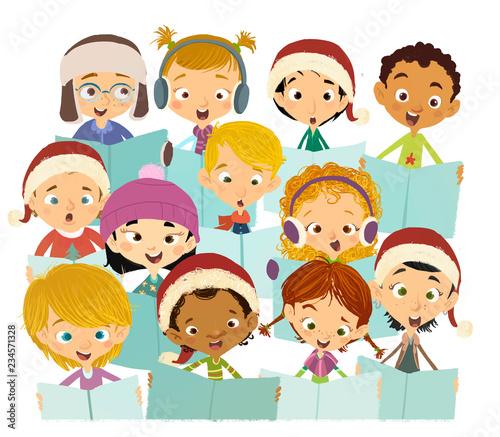 Foto niños felices cantando en coro navideño