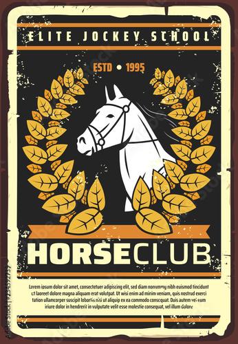 Vászonkép Horserace club horse, jockey school retro poster