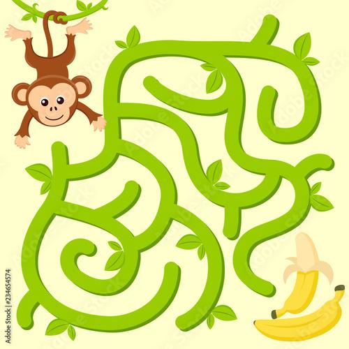 Fototapeta premium Pomóż małpie znaleźć drogę do banana. Labirynt. Gra labirynt dla dzieci