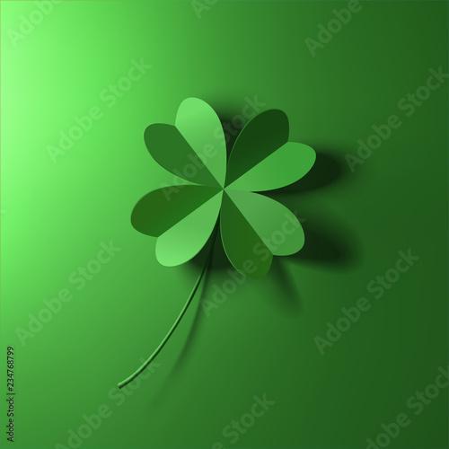 Foto green four-leaf lucky clover leaf vector illustration