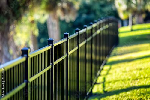 Obraz na plátně Black Aluminum Fence 3 Rails
