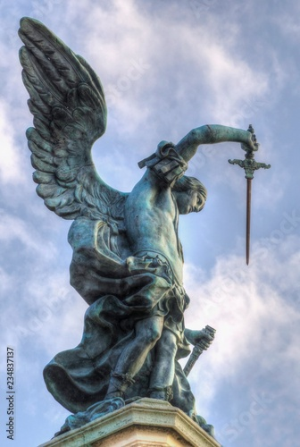 Canvas Bronze statue of Michael the Archangel, standing on top of St
