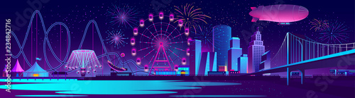 Foto Vector urban concept background with night city illuminated with neon glowing lights