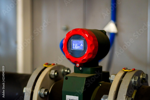 Fotografering Flow transmitter or Flow transducer equipment function and sent PLC logic to pro