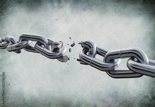 Obraz na plátně Broken metal chain on background