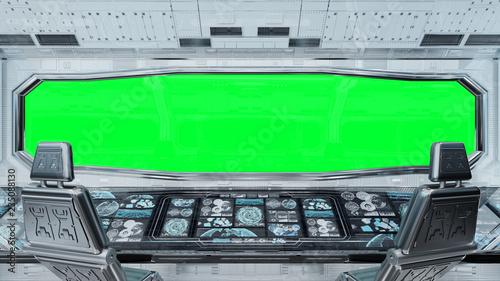 Canvas Print White clean spaceship interior background 3D rendering