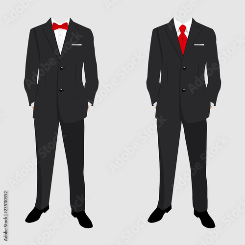 Photo Wedding men's suit and tuxedo. Collection. Vector illustration.