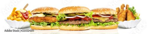 Fotografie, Tablou Hamburger mit Pommes Frites und Chicken Nuggets - Panorama