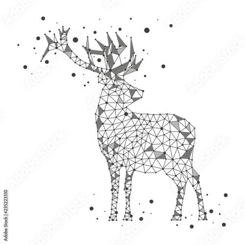 Wallpaper Mural Polygonal deer on white background