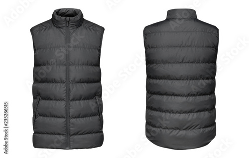 Canvas Print Blank template grey waistcoat down jacket sleeveless with zipped, front and back view isolated on white background