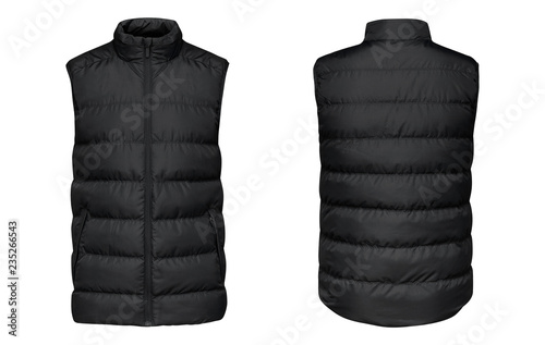 Photo Blank template black waistcoat down jacket sleeveless with zipped, front and back view isolated on white background