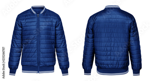 Cuadros en Lienzo Blank template blue jacket bomber with white stripe, front and back view isolated on white background