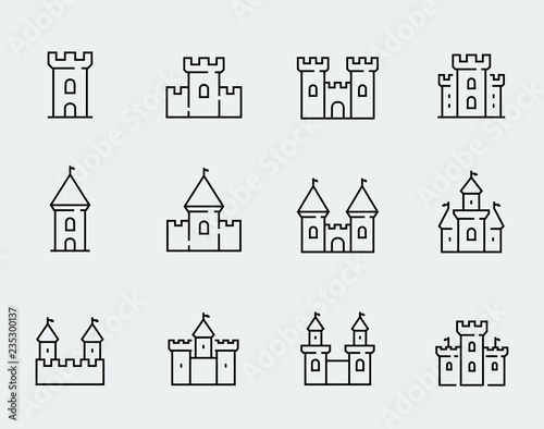 Canvas Print Vector medieval castles icon set in thin line style