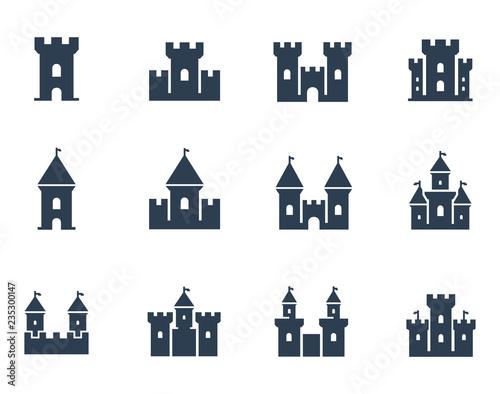 Vászonkép Vector medieval castles icon set