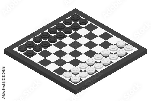 Canvas Print Chessboard and checkers on it. Isometric vector illustration