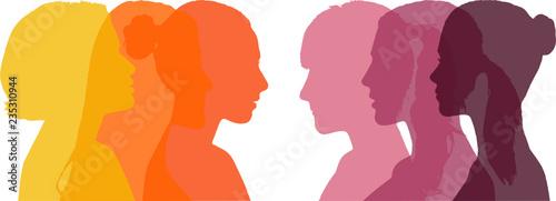 Canvas-taulu Profile of six different women - warm