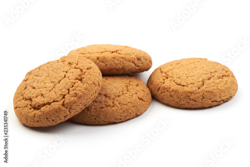 Foto Oat cookies, isolated on a white background. Close-up.
